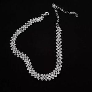 Full Rhinestone Silver Choker Necklace
